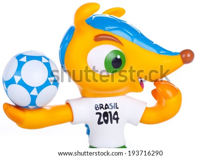 RIO DE JANEIRO - MAY 18, 2014: Fuleco plastic mascot. Fuleco is the official mascot of the FIFA World Cup in Brazil in 2014.