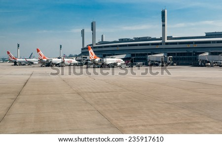 RIO DE JANEIRO - May 01 : View of GIG airport on May 01, 2012 in Rio De Janeiro. Galeao International Airport is the biggest international airport in Rio De Janeiro in Brazil.  - stock photo