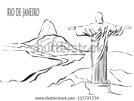 Rio de Janeiro outline raster version - stock photo