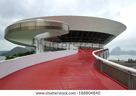 Rio de Janeiro, RJ, Brazil-April 9, 2010: Oscar Niemeyer's Niteroi Contemporary Art Museum, one of the masterpiece of modern architecture, built in 1996 - stock photo