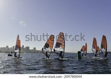 RIO DE JANEIRO, RJ-BRAZIL - AUGUST 07: BRYONY SHAW, CLASS RS-X WOMEN during International Sailing Regatta 2014, test event for the Olympic Games 2016, on august 07, 2014 in Rio de Janeiro