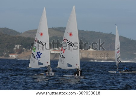 RIO DE JANEIRO, RJ /BRAZIL - AUGUST 21, CLASS 49er FX  - during Aquece Rio International Sailing Regatta 2015, preparative event for the 2016 Olympics. case number : 01851135