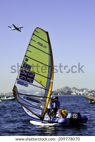 RIO DE JANEIRO, RJ-BRAZIL - AUGUST 07: Dorian Van, Piotr Myszka, class RS:X Men during International Sailing Regatta 2014, test event for the Olympic Games 2016, on august 07, 2014 in Rio de Janeiro