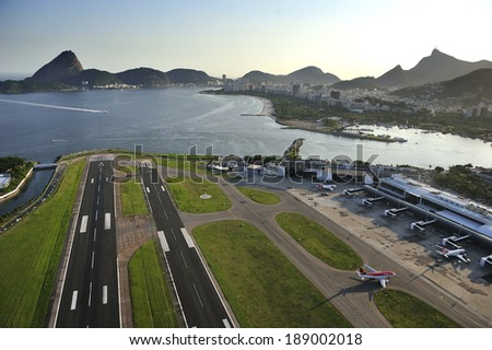 Rio de Janeiro, RJ, Brazil-December 6, 2012: Santos Dumont airport, domestic airport of Rio, sits at the shore of Guanabara Bay - stock photo