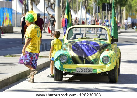 RIO DE JANEIRO, RJ /BRAZIL - JUNE 12:  Car decorated with the colors of Brazil for the World Cup on june 12, 2014 in Rio de Janeiro.