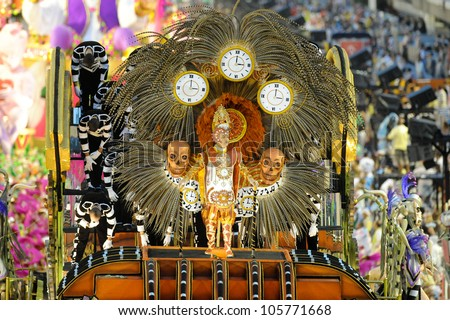 RIO DE JANEIRO, RJ /BRAZIL - MARCH 06, 2011: Samba School parade in Sambodromo. Mangueira School, one of the most famous during festival on march 06, 2011 in Rio de Janeiro. - stock photo