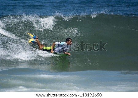 RIO DE JANEIRO - SEPT 16: Brahim Iddouch from Morocco performs during the event  2012 Rio Bodyboard International, September 16, 2012 in Rio de Janeiro, Brazil
