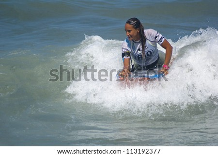 RIO DE JANEIRO - SEPT 16: Eunate Aguirre  from Spain performs during the event 2012 Rio Bodyboard International, September,16, 2012 in Rio de Janeiro, Brazil