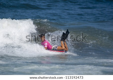 RIO DE JANEIRO - SEPT 16: Isabela Sousa from Brazil performs during the event 2012 Rio Bodyboard International, September,16, 2012 in Rio de Janeiro, Brazil