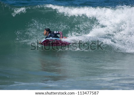 RIO DE JANEIRO - SEPT 14: Kirtys Montenegro from Brazil performs during the event 2012 Rio Bodyboard International, September 14, 2012 in Rio de Janeiro, Brazil