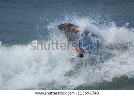 RIO DE JANEIRO - SEPT 11: Marcus Martins from  Brazil performs during the event 2012 Rio Bodyboard International, September 11, 2012 in Rio de Janeiro, Brazil