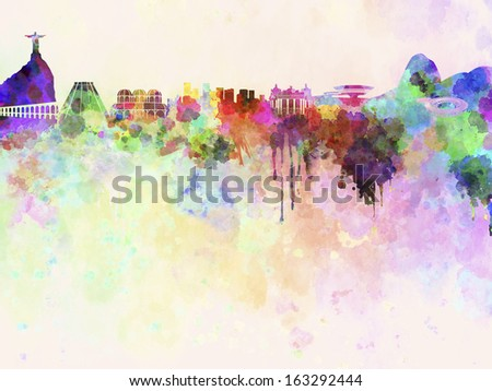 Rio de Janeiro skyline in watercolor background with clipping path - stock photo