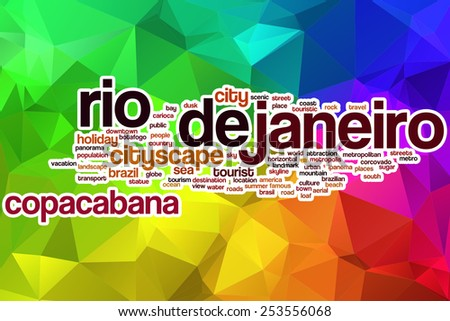 Rio de Janeiro word cloud concept with abstract background - stock photo
