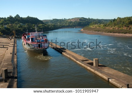 Rio Grande do Sul, Brazil, August 18, 2006. Ships passing through the Amarópolis dam on the Jacuí river in the state of Rio Grande do Sul.