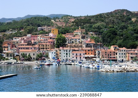 Rio Marina, Italy - 5 July 2011: The village of Rio Marina on Elba island, Italy