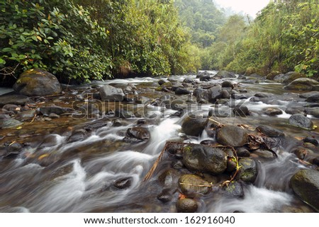 Rio Mindo, western Ecuador, river running through cloudforest at 1,400m elevation. - stock photo