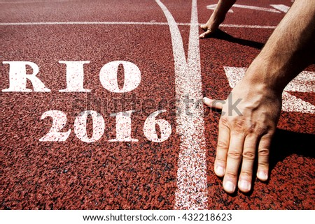 Rio 2016 written on running track
