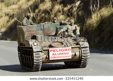 Riobamba, Ecuador - 14 June 2012: Army Tanks Patrolling The Streets Of Riobamba During An Exercise In Riobamba On June 14, 2012 - stock photo