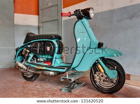"""RIOLO TERME (RA) ITALY - APRIL 15: italian scooter tuning; old tuned Lambretta Special of the 60s at """"Agriolo"""", festival of vintage motorcycle, on April 15, 2012 in Riolo Terme (RA) Italy - stock photo"""