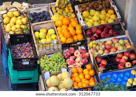 RIOMAGGIORE, ITALY - AUGUST 11, 2015: Local market with fresh fruits in summertime in Riomaggiore, Cinque Terre, Italy.