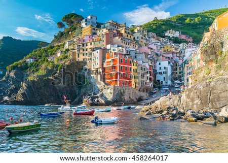 RIOMAGGIORE, ITALY - JULY 4, 2016: The viallage of Riomaggiore is one of the five villages along the Cinque Terre in Italy
