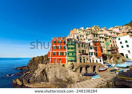 Riomaggiore Liguria Italy. Riomaggiore village, cinque terre national park in Liguria Italy. UNESCO world heritage site - stock photo