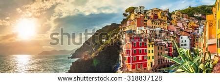 Riomaggiore panorama at sunset, Cinque Terre National Park, Liguria, La Spezia, Italy - stock photo