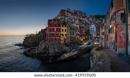 Riomaggiore Sunset Cityscape - stock photo