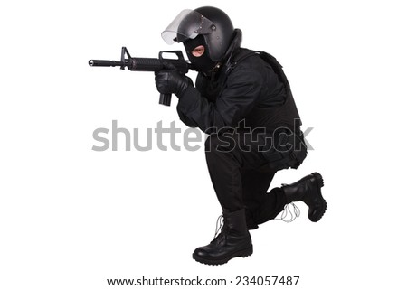 Riot police officer in black uniform isolated on white