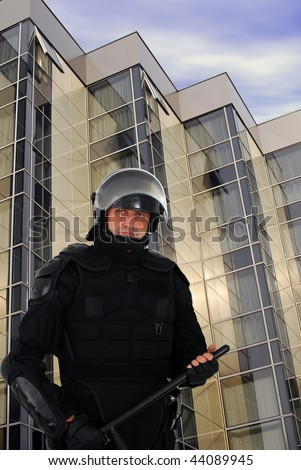 riot policeman - stock photo