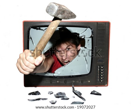 riot tv - stock photo