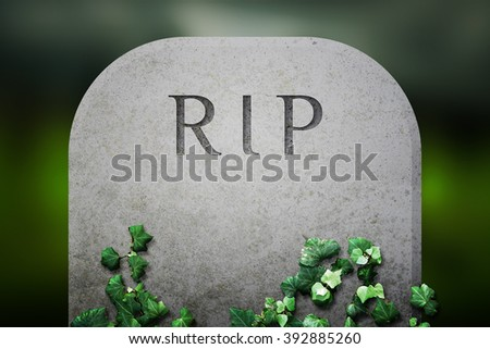 RIP on Grave Funeral Background - stock photo