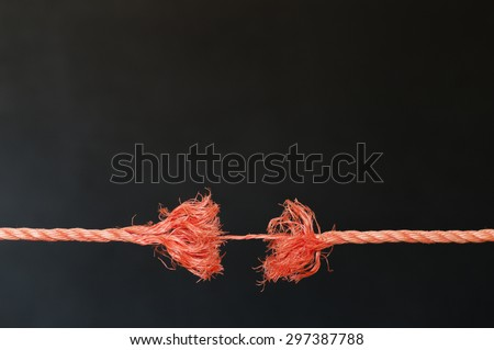 Rip orange rope just before. The rope just hanging by a thread.