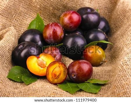 Rip plums on sacking - stock photo