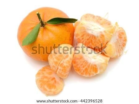 rip tangerine fruits isolated on white background - stock photo