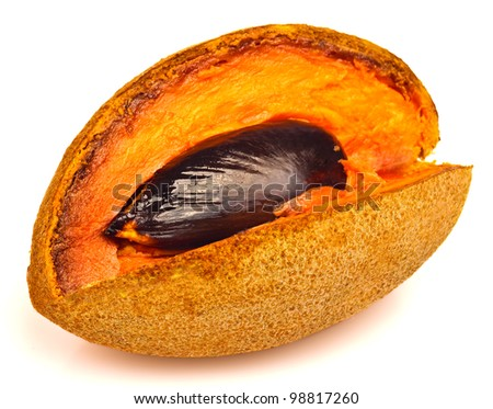 Ripe and cut mamey fruit on a white background - stock photo
