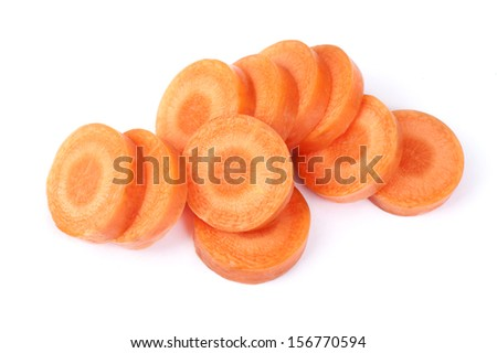 Ripe and juicy chopped carrot on white background - stock photo
