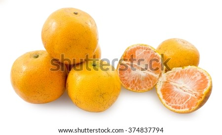 Ripe and Sweet Oranges Isolated on White Background, Orange Is The Fruit of The Citrus Species. - stock photo