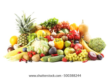 Ripe and tasty fruits and vegetables isolated on a white
