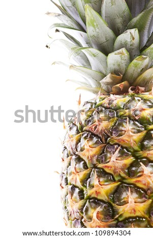 ripe and tasty pineapple over the white background - stock photo