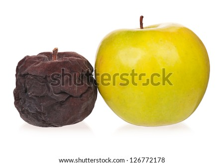 Ripe apple and rotten apple isolated on white background concept - stock photo
