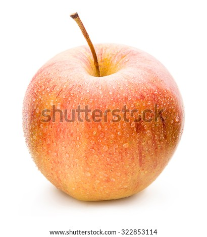 Ripe apple on a white background. - stock photo