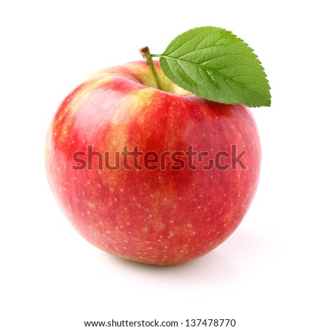 Ripe apple with leaf - stock photo