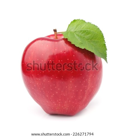 Ripe apple with leaves isolated on white background .