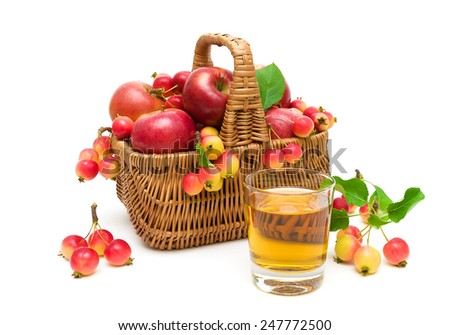 ripe apples in a wicker basket isolated on white background. horizontal photo. - stock photo