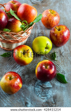 Ripe apples in the basket, top view. Fresh fruits. Fresh apples. Healthy food. Healthy eating. Vegetarian food. Healthy eating concept.  - stock photo