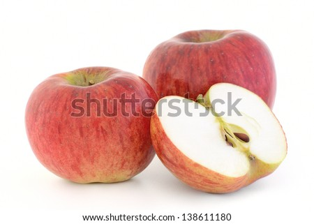 ripe apples isolated on white background - stock photo
