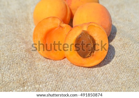 Ripe apricots. Fresh apricots  on a wooden table