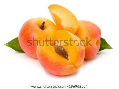 ripe apricots on the white background