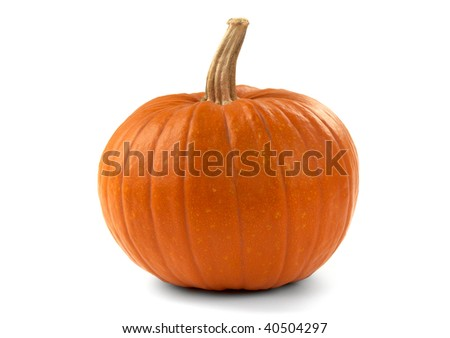 Ripe autumn pumpkin on a white background. Close up. - stock photo
